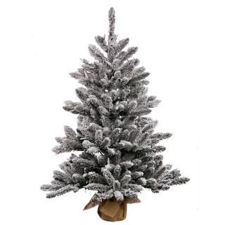 Vickerman White/Green Plastic 36-inch Flocked Anoka Pine Artificial Christmas Tree with 100 Warm White LED Lights