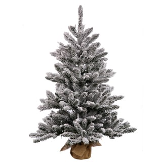 Vickerman White/Green Plastic 30-inch Flocked Anoka Pine Artificial Christmas Tree with 50 Warm White LED Lights