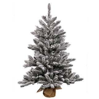 Vickerman Flocked White-on-Green PVC 24-inch Anoka Artificial Christmas Pine Tree with 35 Warm White LED Lights