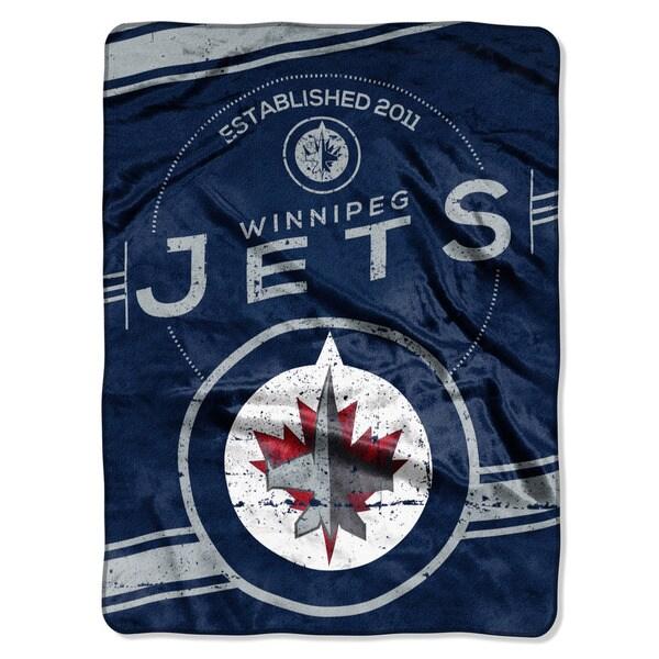 NHL 801 Winnipeg Jets Stamp Raschel Throw