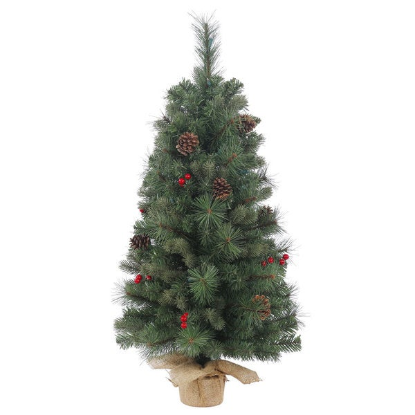 Vickerman Wesley Mixed Pine 36-inch Unlit Artificial Christmas Tree