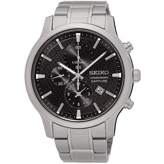 Seiko Men's Stainless Steel Silver Tone Chronograph Watch with a Sapphire Crystal, Black Dial and a Date Window