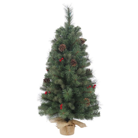 Vickerman Green Plastic 24-inch Wesley Mixed Pine Unlit Artificial Christmas Tree