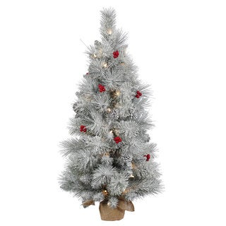 Vickerman White Frosted Green Pine PVC/Hard Needle 36-inch Mixed Berry Artificial Christmas Tree with 50 Clear Lights