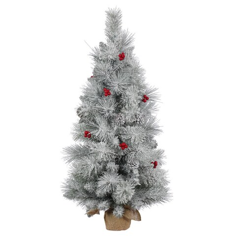 Vickerman White/Red/Green PVC 36-inch Frosted Mixed Berry Pine Unlit Artificial Christmas Tree