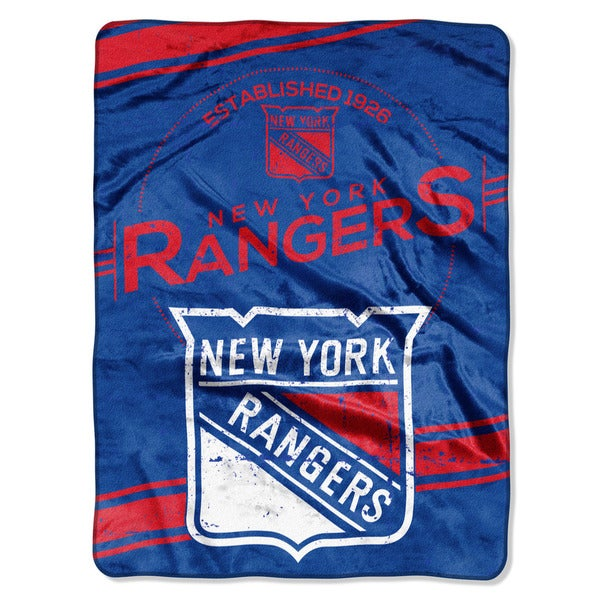 NHL 801 NY Rangers Stamp Raschel Throw