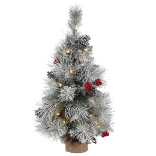 Vickerman Frosted Mixed Berry Artificial Christmas Pine Tree with 20 Clear Lights