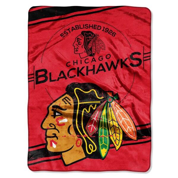 NHL 801 Blackhawks Stamp Raschel Throw
