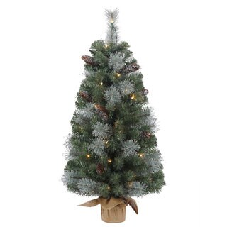 Vickerman Plastic 36-inch Shasta Blue Mix Pine Artificial Christmas Tree with 50 Clear Lights