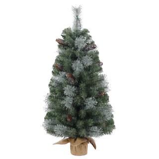 Vickerman Blue Plastic 36-inch Shasta Blue Mix Pine Unlit Artificial Christmas Tree