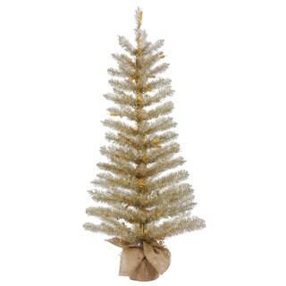 Vickerman Champagne Plastic 60-inch Tinsel Unlit Artificial Christmas Tree