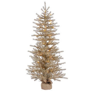 Vickerman Brown Plastic 48-inch Mocha Tinsel Artificial Christmas Tree with 70 Clear Lights