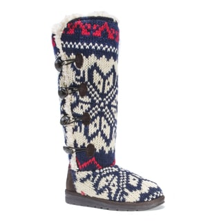 MUK LUKS Women's Felicity Blue Faux Fur Polyester Knee-high Boots