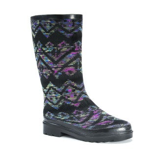 MUK LUKS Women's Annabelle Multicolor Polyester, Rubber, and Cotton Rainboots
