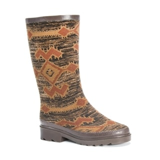 MUK LUKS Women's Annabelle Brown/Muticolor Polyester, Rubber, and Cotton Rainboots