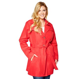 Larry Levine Women's Plus Size Single Breasted Trench Coat