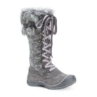 Muk Luks Women's Gwen Grey Polyester/Faux Fur Snowboots
