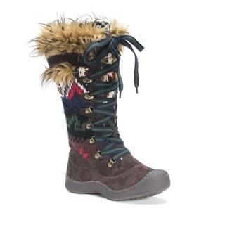 Muk Luks Women's Gwen Brown Polyester/Faux Fur Snowboots