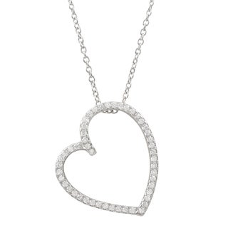Luxiro Sterling Silver Pave Cubic Zirconia Open Heart Pendant Necklace - White