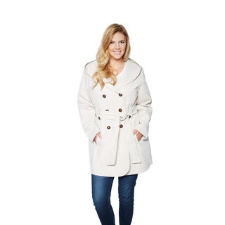 Larry Levine Women's Plus Size Hooded Trench Coat