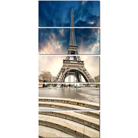 Eiffel Tower with Stairs - Landscape Large Wall Art - Blue