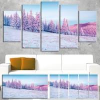 Winter Sunrise in Mountains - Landscape Wall Art - Blue