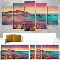 Giallonardo Beach Colorful Sunset - Seashore Wall Art - Pink/Blue/Yellow