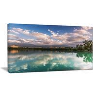 City Lake with Cloud Reflection - Cityscape Photo Canvas Artwork - Blue