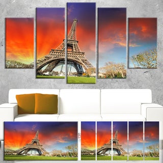 Eiffel Tower Under Colorful Sky - Landscape Large Wall Art