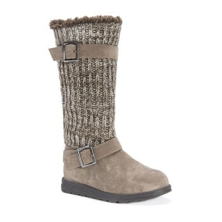 MUK LUKS Women's Janine Brown Polyester, Faux Suede, and Faux Fur Boots