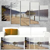 Plitvice Lakes Wooden Bridge - Landscape Large Wall Art - Brown