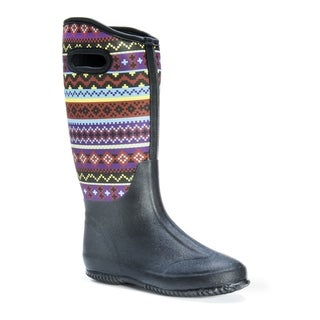 MUK LUKS Women's Karen Black Neoprene, Polyester Knee-high Rainboots