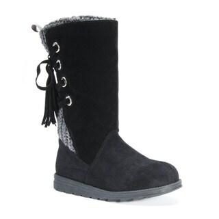 Muk Luks Women's Luanna Black Polyester/Faux Fur/Faux Suede Boots