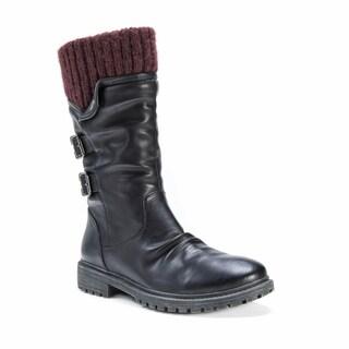 Muk Luks Women's Macy Black Polyester/Polyurethane/Faux Fur Boots
