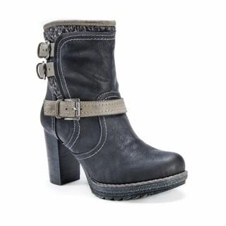 Muk Luks Women's Mariah Black Faux Fur Mid-calf Heel Boots