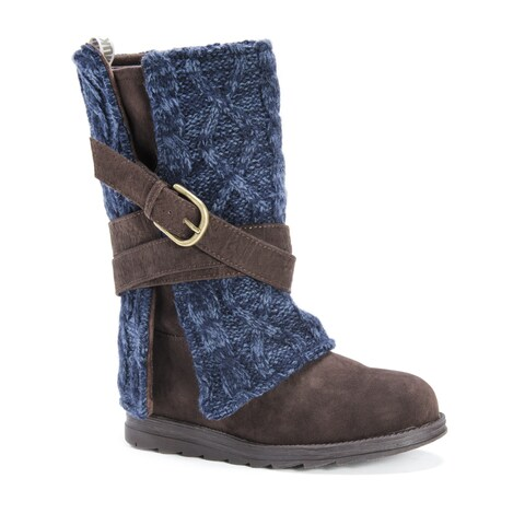 Muk Luks Women's Nikki Dark Brown Polyester, Faux Suede, and Wool Mid-calf Boots