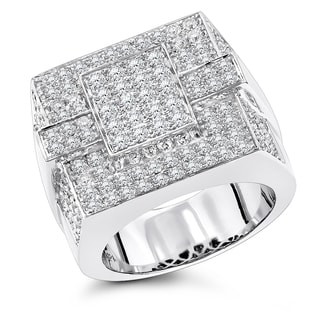 Luxurman 14k Men's Pave Diamond Ring 4ct