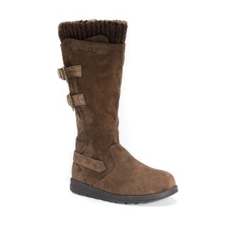 MUK LUKS Women's Nora Brown Faux Suede, Polyester Knee-high Boots