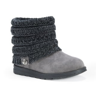 MUK LUKS Women's Patti Grey Polyester, Wool and Faux Suede Boots
