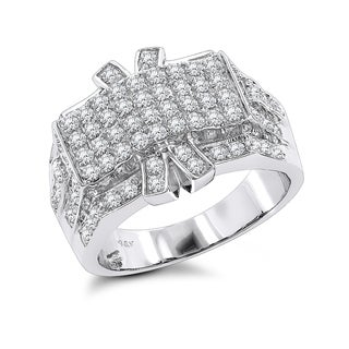 Luxurman Men's 14k White Gold 2 1/3ct TDW Diamond Ring