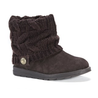 Muk Luks Women's Patti Brown Polyester/Faux Suede/Wool Boots