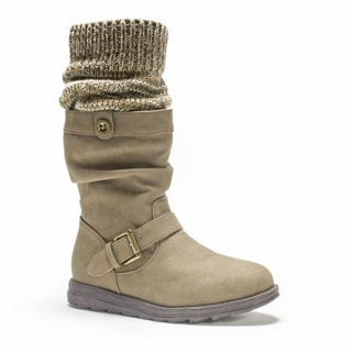 Muk Luks Women's Sky Tan Polyester/Polyurethane/Faux Leather Boots
