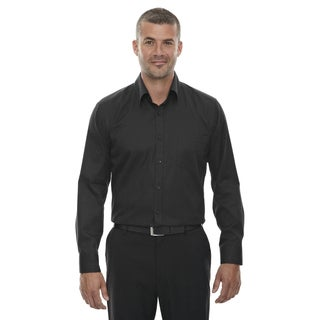 Men's Black Polyester Taped Stripe Jacquard Wrinkle-free 2-ply T-shirt