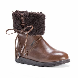 Muk Luks Women's Cognac Brown Faux-leather Shirley Boots