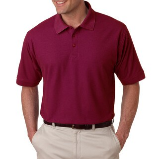 Tall Whisper Men's Red Cotton-blended Polyester Short Sleeve Polo