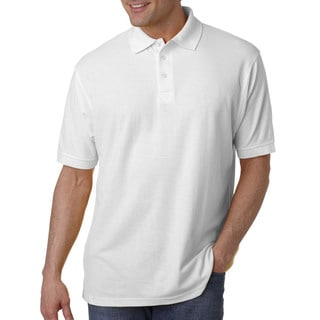 Tall Whisper Men's Pique White Cotton/Polyester Polo T-shirt