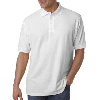 Tall Whisper Men's Pique White Cotton/Polyester Polo T-shirt