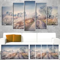 First Frost in Forest - Landscape Photography Canvas Art Print - Blue