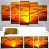 Sunset in Liguria Italy - Landscape Photography Canvas Art Print - YELLOW