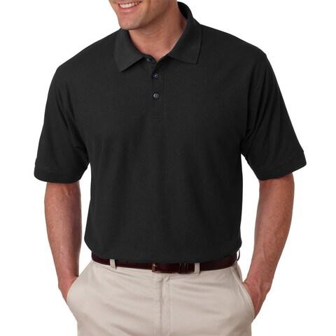 Tall Whisper Men's Black Polyester/Cotton Pique Polo T-shirt